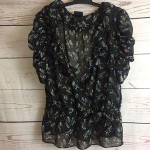 H&M sheer short sleeve blouse
